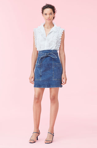 La Vie Denim Skirt in Etienne Wash