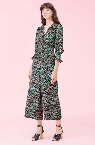 Louisa Floral Jacquard Jumpsuit in Malachite Combo