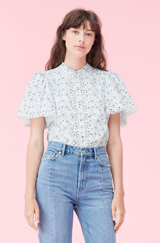 La Vie Poppy Fields Poplin Top in Milk Combo