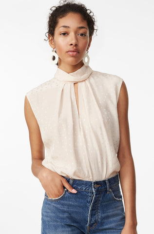 Heart Jacquard Silk Mock Neck Top in Parfait