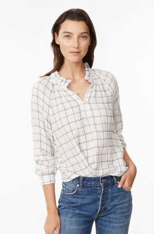 La Vie Lurex Plaid Top in Milk Combo