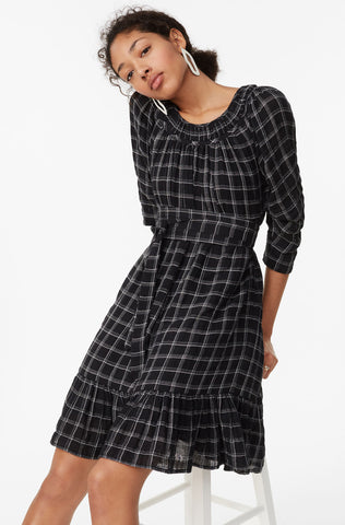 La Vie Lurex Plaid Dress in Black Combo