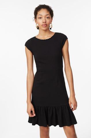 Honeycomb Stretch Texture Dress in Black