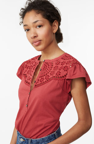 La Vie Clean Jersey Tee With Eyelet in Carmine