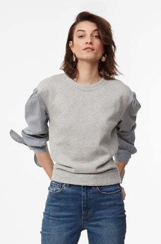 La Vie Striped Sleeve Fleece Pullover in Light Heather Grey