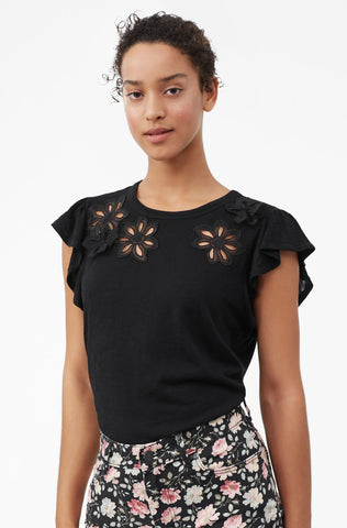 Emilie Embroidered Jersey Top in Black