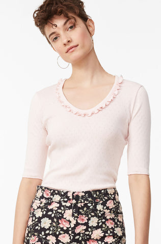 La Vie Rib Pointelle Top in Pink Chalk