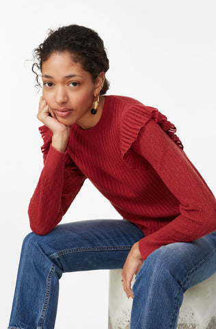 La Vie Cozy Cotton Pullover in Carmine