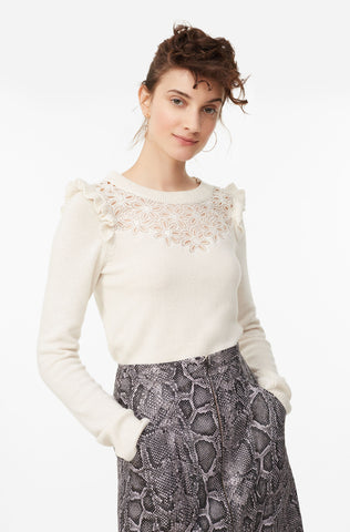Emilie Embroidered Pullover in Cream