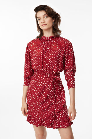 Blurry Heart Silk Embroidered Dress in Crimson