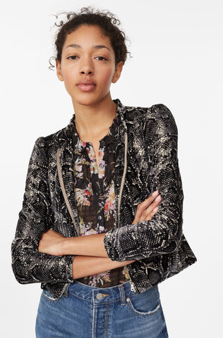 Snake Print Velvet Jacket in Washed Black Combo