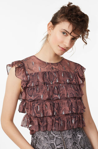 Snake Print Tiered Ruffle Top in Jam Combo