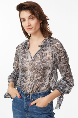 Snake Print Metallic Clip Top in Washed Black Combo