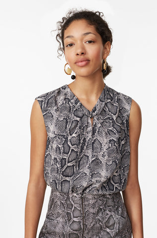 Snake Print Silk Knot Neck Top in Washed Black Combo