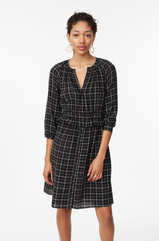 Plaid Silk Dress in Black