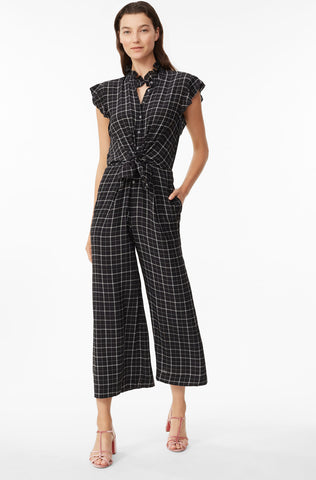 Plaid Silk Jumpsuit in Black