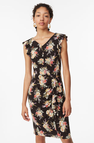 Bouquet Floral Jersey Dress in Black Combo