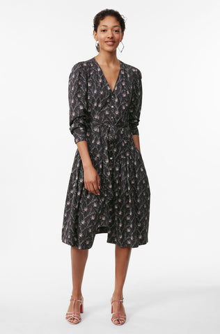 La Vie Aubrie Trellis Poplin Dress in Black Combo