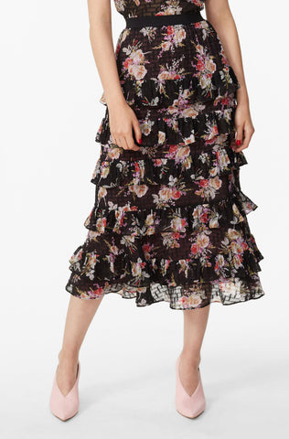 Bouquet Floral Tiered Ruffle Skirt in Black Combo