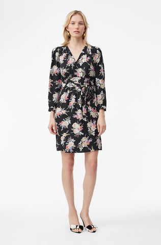 Bouquet Floral Silk Dress in Black Combo