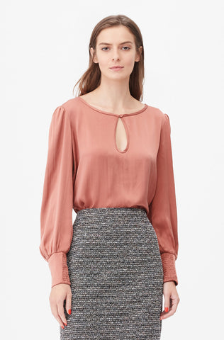 Tailored Silk Charmeuse Top in Burnt Rose