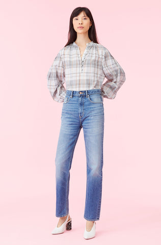 La Vie Lurex Plaid Top in Creamsicle Combo
