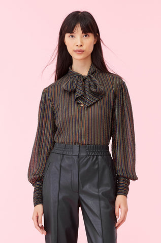 Multi Lurex Stripe Tie Neck Top in Black Combo