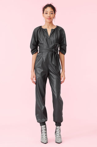 Vegan Leather Jumpsuit in Black