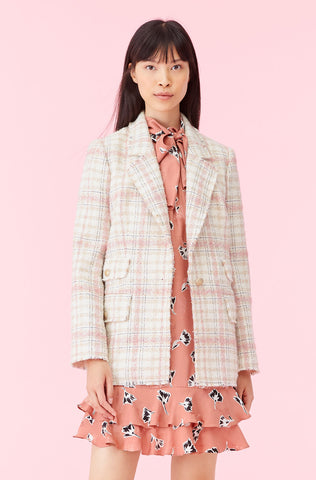 Gabrielle Plaid Tweed Blazer in Cream Multi