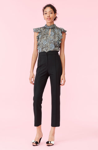 Gabardine Suiting Notch Pant in Black