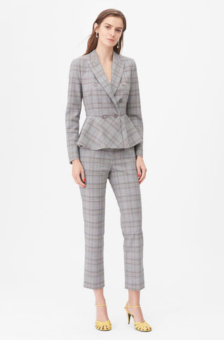 Tailored Plaid Suiting Peplum Jacket in Robins Egg Combo
