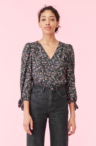 Lia Floral Silk Twill Top in Black Combo