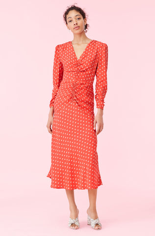Sunrise Dot Jacquard Dress in Lava Combo