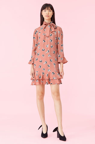 Ikat Paintbrush Ruffle Dress in Blush Combo