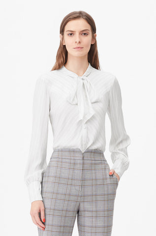 Tailored Dotted Stripe Tie Neck Top in Snow Combo