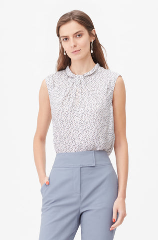 Tailored Pyramid Print Knot Neck Top in Snow Combo