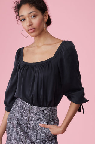 Silk Charmeuse Square Neck Top in Black