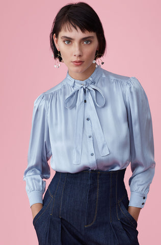 Silk Charmeuse Tie Neck Top in Dusty Wedgewood
