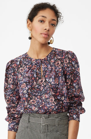 La Vie Toile Fleur Knot Top in Midnight Navy Combo