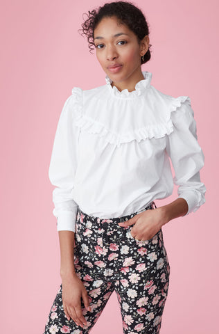 La Vie Poplin Ruffle Top in Milk