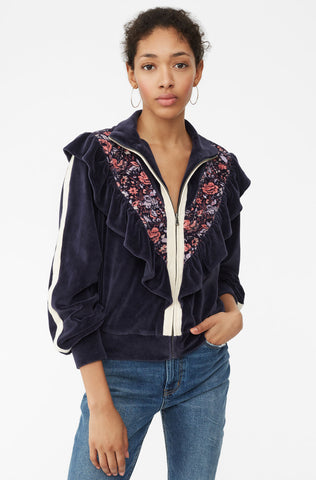 La Vie Toile Fleur Velour Jacket in Midnight Navy Combo