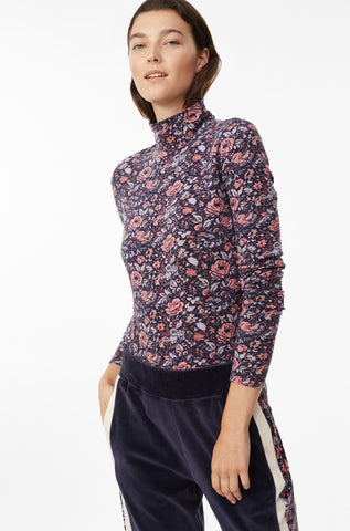 La Vie Toile Fleur Turtleneck Jersey Top in Midnight Navy