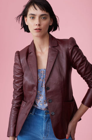 Leather Jacket in Bordeaux