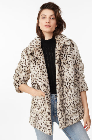 La Vie Lynx Faux Fur Coat in Lynx Combo