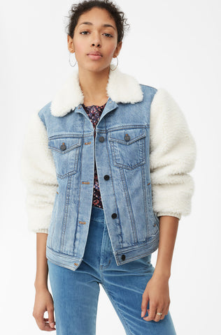 La Vie Denim & Faux Fur Jacket in Marais Wash