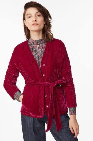 Quilted Velvet Coat in Cranberry