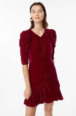 Ruched Velvet Dress in Cranberry