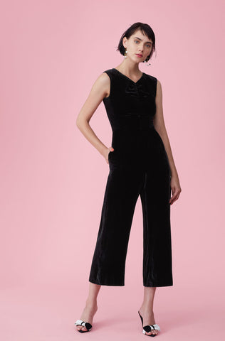 Ruched Velvet Jumpsuit in Black