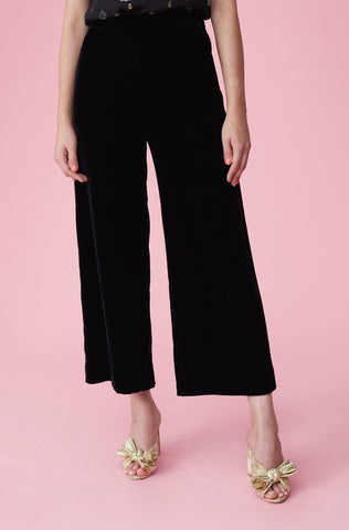 Velvet Wide Leg Crop Pant in Black