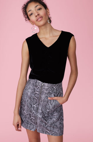 Ruched Velvet Top in Black